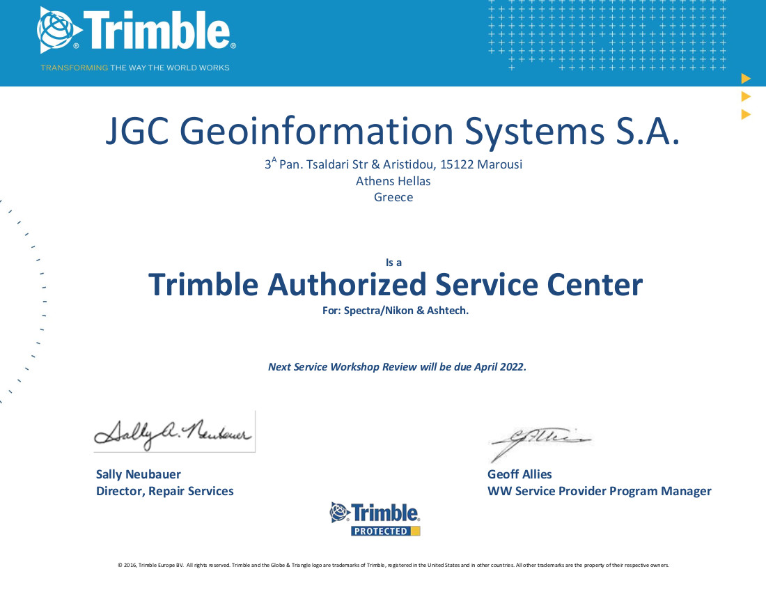 Workshop certificate for JGC Geo information
